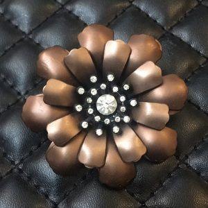 Antique Metal Figural Rhinestone Flower Brooch